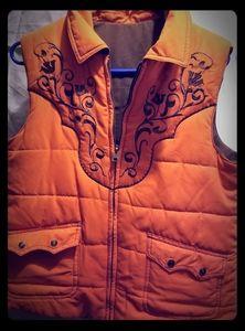 Reversible orange and brown western vest
